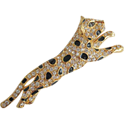 Vintage Trifari Leopard Tiger Pave Rhinestone Enamel Spot Brooch Pin
