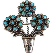 Vintage Zuni Sterling Silver Petit Point Turquoise Giardinetti Flower Brooch