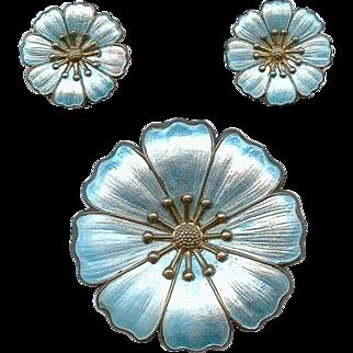 Fine DGH Dansk Guidsmede Handvaerk Blue Sterling Enamel Brooch Earring Set