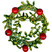 Vintage Original By Robert Christmas Red Green Enamel Wreath Brooch