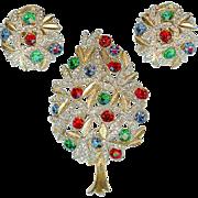 Vintage Sphinx England Rhinestone Pave Christmas Tree Brooch Earring Set