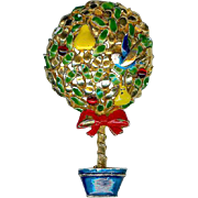 Vintage Cadoro Partridge Pear Christmas Tree Topiary Brooch