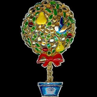 Vintage Cadoro Partridge Pear Christmas Tree Topiary Brooch