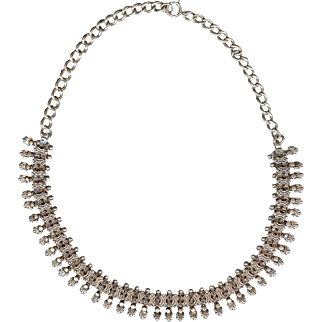"Antique Victorian European 800 Silver Bee Necklace 18"""