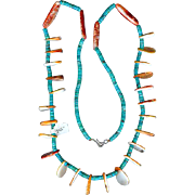 Rare Old Pawn Pueblo Indian All Hand Cut Turquoise Heishi Coral Necklace