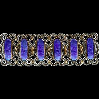 Arne Nordlie Norway Sterling Silver Royal Blue Enamel Brooch Pin