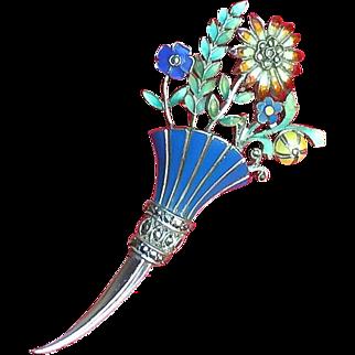 Antique Edwardian Sterling Silver Enamel Bouquet Brooch Pin~Bridal