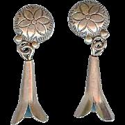 Vintage Navajo Sterling Silver Squash Blossom Earrings