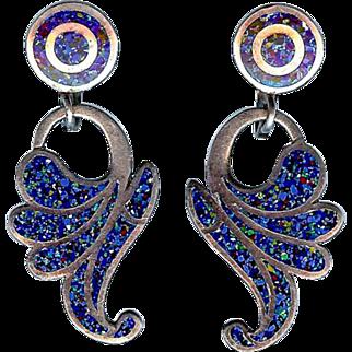Vintage Margot De Taxco Blue Confetti Sterling Silver Earrings 5626