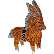 Vintage Margot de Taxco Brown Enamel Democrat Donkey Brooch Pin