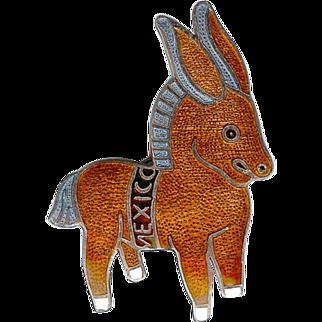 Vintage Margot de Taxco Brown Enamel Donkey Brooch Pin