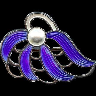 Vintage Aksel Holmsen Norway Sterling Royal Blue White Enamel Floral Brooch Pin
