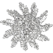 Enormous Verified D&E Juliana Clear Ice Rhinestone Snowflake Brooch Pin