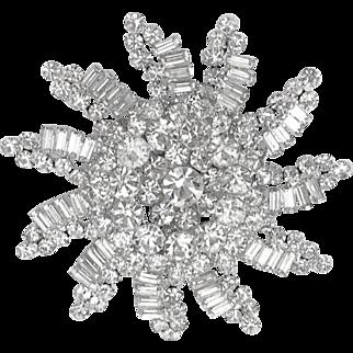 Enormous Verified D&E Juliana Clear Ice Rhinestone Snowflake Brooch Pin