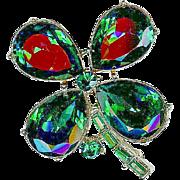 Vintage Dodds Emerald Green Rhinestone Clover Shamrock St Patrick's Brooch Pin