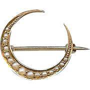 Fine Antique Victorian 14k Seed Pearl Crescent Honeymoon Pin Brooch