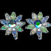 Vintage Crown Trifari Blue Green Rhinestone Flower Earrings