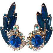 Vintage Verified Juliana D and E Royal Blue Rhinestone Fleurette Earrings