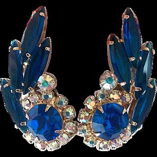 Vintage Verified Juliana D and E Royal Blue Rhinestone Fleurette Earrings