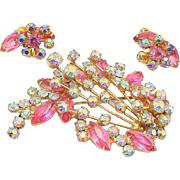 Verified Vintage Juliana D and E Pink Flower Shooting Star Brooch Earring Set