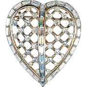 Vintage 1953 Trifari Invisibly Set Rhinestone Alfred Philippe 'Captive Heart' Brooch