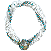 Retro 1950s Eugene 9 Strand Turquoise White Glass Bead Torsade Necklace Bridal