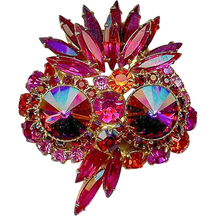 Book Piece Juliana D and E Owl Volcano Rivoli Red Pink Orange Brooch Pin