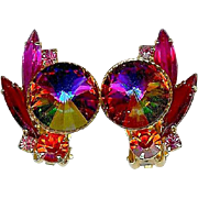 Book Piece Juliana D&E Volcano Rivoli Red Pink Orange Rhinestone Earrings