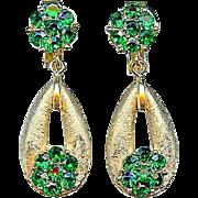 Vintage Crown Trifari Emerald Green Floret Birthstone May Dangle Earrings