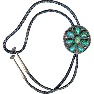 Superb Old Pawn Navajo Huge Natural Turquoise Bolo