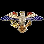 Vintage Eisenberg Ice 3 Inch Enamel Rhinestone Patriotic Red White Blue Eagle Brooch Pin