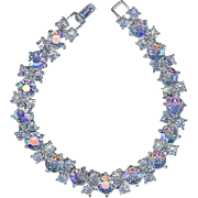 Minty Vintage Crown Trifari Baby Blue AB Rhinestone Bracelet