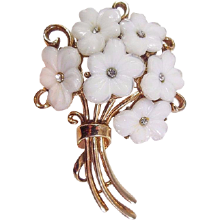 Bridal 1951 Crown Trifari Poured Glass Forget Me Not Flower Bouquet Brooch Pin