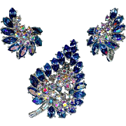Vintage Trifari Royal Blue Rhinestone Tree Brooch Earring Set Radiance