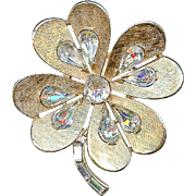 Big Vintage Crown Trifari Rhinestone Clover Shamrock Brooch Pin St Patricks Day