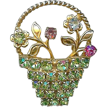 Sweet Vintage Rhinestone Flower Spring Easter Basket Brooch Pin
