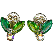 Vintage Juliana Style Green Rhinestone Heart Scroll Earrings Free Shipping