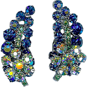 Striking Vintage Juliana D and E Cobalt Blue Rhinestone Ear Climber Earrings