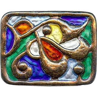 Vintage Oystein Balle Norway Modernist Brooch Sterling Silver Primary Colors