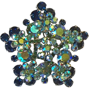 In Book Juliana D & E Blue Green Rhinestone Snowflake Brooch Pin