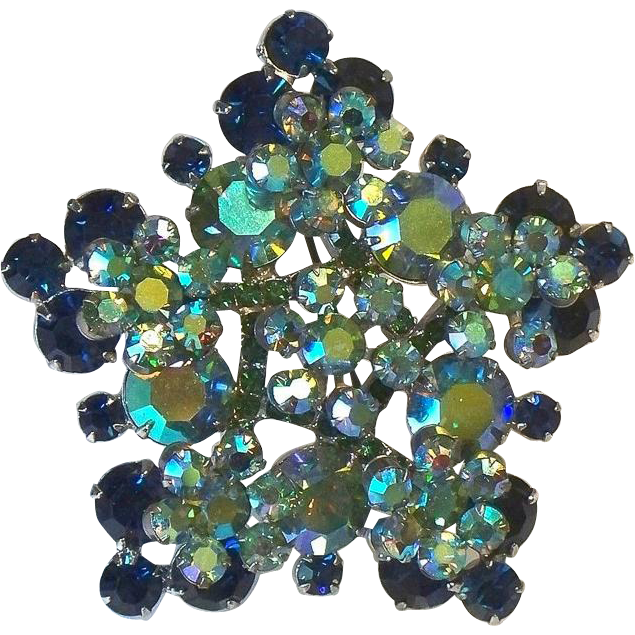 In Book Juliana D & E Blue Green Rhinestone Snowflake Brooch Pin