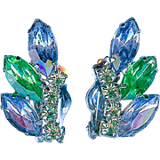 Vintage Juliana Style Blue Lime Green Rhinestone Earrings Sparkling!