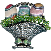 Vintage Enamel Easter Egg Basket Brooch Pin