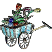 Vintage Art Deco 835 Silver Enamel Tulip Flower Cart Spring Easter Brooch Pin