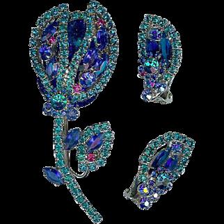 Verified Juliana D and E Tulip Flower Brooch Earrings Blue Teal Rhinestones