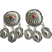 Old Navajo John Nelson Sterling Silver Coral Concho Dangle Earrings