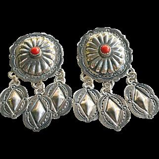 Old Navajo John Nelson Sterling Silver Coral Concho Dangle Earrings