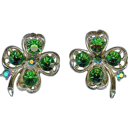Vintage Lisner Emerald Green Four Leaf Clover Shamrock Earrings