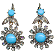 Vintage Victorian Revival Turquoise Pierced Dangle Earrings