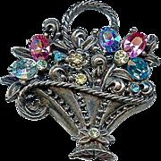 Retro Era Coro 1940s Flower Basket Brooch Pin